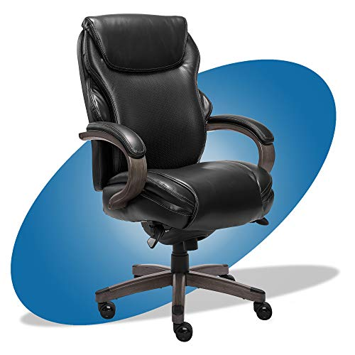 La Z Boy Hyland Executive Office Chair with AIR Technology, Adjustable High Back Ergonomic Lumbar Support, Bonded Leather, Black and Weathered Gray Wood Finish -  Millwork Holdings Co., Inc., CHR10044B