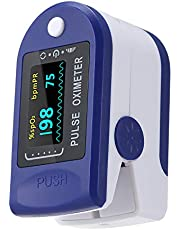 Carrfan Digital Fingertip Pulse Oxi-m-eter LED Display Blood Oxygen Level SpO2 Finger Oxi-m-eter Sensor Saturation Fingertip Monitor Measurement Meter