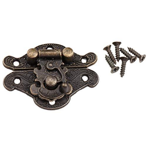 Lock Shed Door Furniture Cabinet Box Metal Door Bo 1Pc Antique Bronze Metal Lock Decorative Latch Hasps Hook Wooden Jewelry Box Padlock with Screws for Furniture Hardware (Color : 38X29mm)