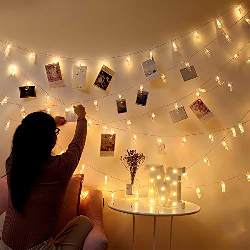 Fulighture Foto Lichterkette mit Klammern 6M 40 Clips Batteriebetriebene für Wohnzimmer Weihnachten Hochzeiten