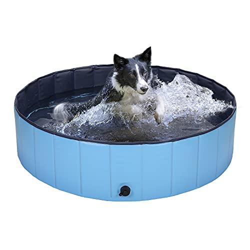 HAPPY HACHI Piscina para Perros Grandes Plegable 120x30 cm Bañera para Gato Mascotas Resistente Duradero Refrescarse Nadando en Verano