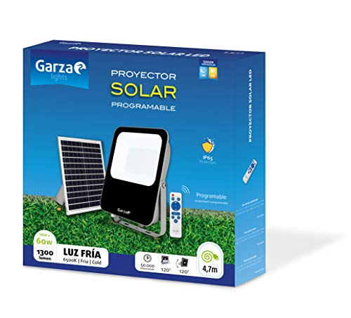 Garza ® Proyector Solar Led, 60W con Mando a Distancia, Programable y Regulable, Cable 4,7m