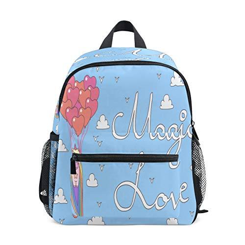 Magic Love Heart Unicorn Toddler Backpack Bookbag Mini Shoulder Bag for 1-6 Years Travel Boys Girls Kids with Chest Strap Clip Whistle