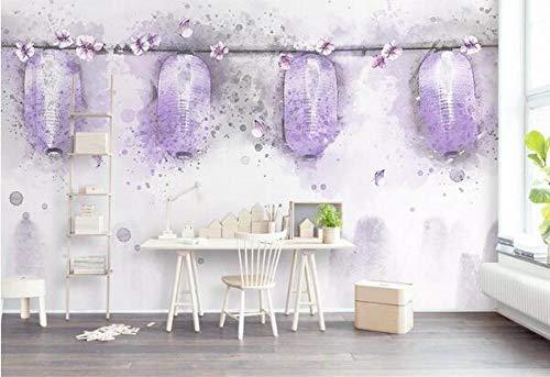 Tapete Schöne lila handgemalte Aquarell Laterne Blume Schmetterling Tapete TV Hintergrund Tapete Wohnzimmer Schlafzimmer nahtlose Wandverkleidung dekorative Wandbild-300cmx210cm