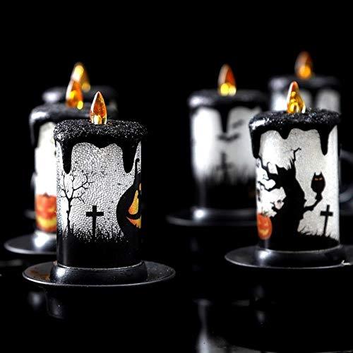 BTKNOO Luces de Velas LED de Halloween Decoraciones de Mesa de Chimenea de Velas sin Llama Coloridas para la Fiesta de celebración de Halloween (Color Aleatorio), Naranja