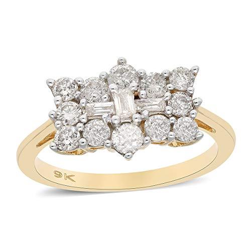 TJC White Diamond I3/G-H Boat Ring for Women Gift for Wife/Girl Friend/Mother in 9ct Yellow Gold SGL Certified Size S, TCW 1.05ct.