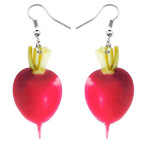 N\A Acrylic Fashion Red Round Carrot Earrings Big Long Horn Farm Vegetables Women Women Girls Teen Kids Multicolor
