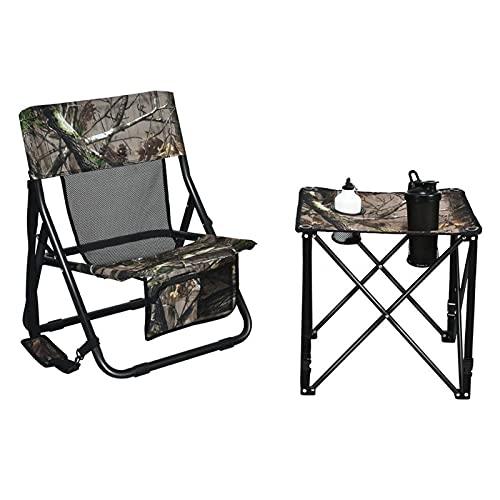 lemeibaihuo zis Silla de Caza Plegable y Conjunto de Mesa para Camuflaje de bosques de Camping al Aire Libre portátil