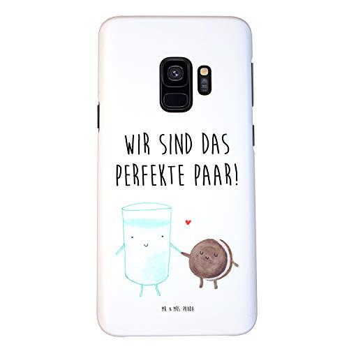 Mr. & Mrs. Panda Handhülle, Samsung Galaxy S9 Handyhülle Milch & Keks mit Spruch - Farbe Weiß