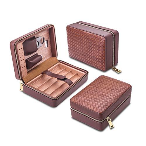 Yannabis Travel Cigar Humidor, Cedar Wood Cigar Case, Portable Cigar Box with humidifier, Cigar Cutter and Pouch