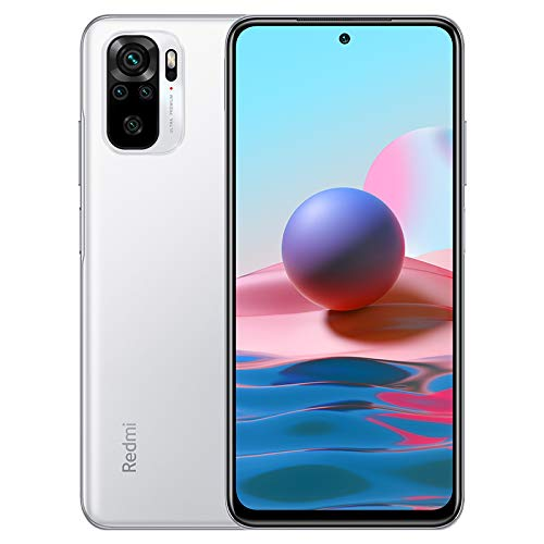 Xiaomi Redmi Note 10 Smartphone 4GB 64GB Teléfono,6.43' AMOLED DotDisplay,Snapdragon 678 Procesador (48MP+8MP+2MP+2MP) Quad Cámara,Dual SIM Card,Fingerprint and AI Face Unlock Versión Global(Blanco)
