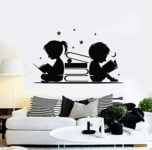Pegatinas de pared para habitación infantil, decoración del hogar, niños, niñas, estrella de lectura, luna, pegatinas de vinilo de biblioteca, rincón de lectura 57X34cm
