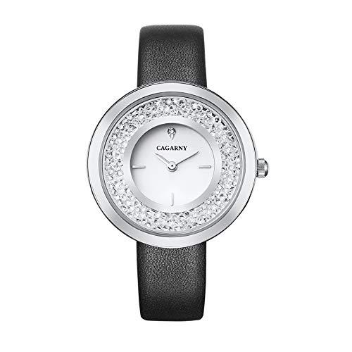 SJXIN schöne und stilvolle Uhr, CAGARNY Mode Dame Quarz Uhr 6878 Gürtel Mode Damenuhr Mode Uhren (Color : 4)