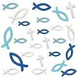 HAKACC Fische Streudeko, 100 Stück Holz Kreuz Fisch Deko Tischdeko Verzierung für Taufe Kommunion Konfirmation
