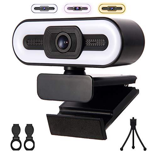 Webcam con micrófono y luz de relleno de 3 colores, cámara web de transmisión USB HD 1080P para PC/computadora portátil/escritorio, cámara web de computadora para videoconferencia, videollamadas