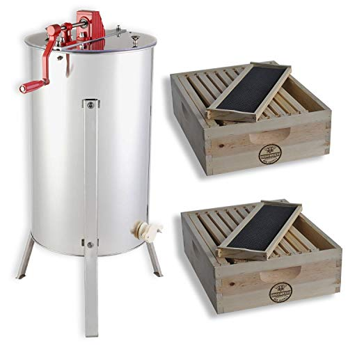 GOODLAND BEE SUPPLY 2 Bee Hive Frame Honey Extractor with 2 Complete Super Beehives - GL-E2-2S