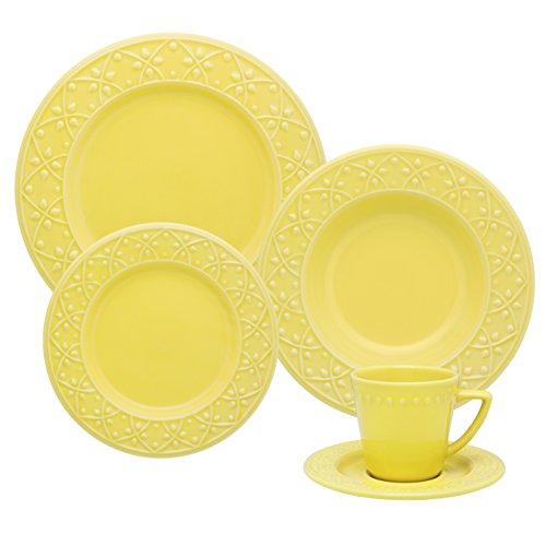 1 Aparelho de Jantar e Chá 20 Peças Oxford Daily Mendi Sicilia Amarelo