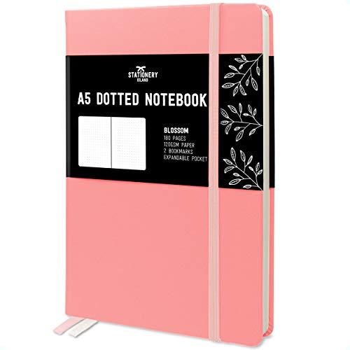 Stationery Island Cuaderno Punteado A5 – Flor de Cerezo. Bullet Journal de Tapa Dura Con 180 Páginas y Papel Premium de 120gsm. Para Notas, Planificación, Estudio, Viajes, Diario y Proyectos