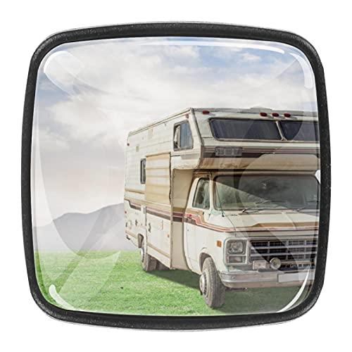 4PCS Square Drawer Knobs Crystal Glass 30mm Cabinet Knobs Pull Handles Vintage Caravan Car 30mm