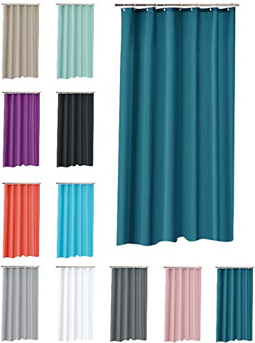 one-home Duschvorhang 180x200 cm wasserdicht Uni Badewannen Vorhang inklusive 12 Ringe, Farbe:Petrol