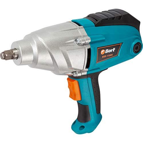 Bort BSR-1100X - Atornillador de impacto eléctrico (500 Nm, 1100 W, 2200 rpm, pantalla LCD, incluye llaves de vaso de 17, 19, 21 y 22 mm)