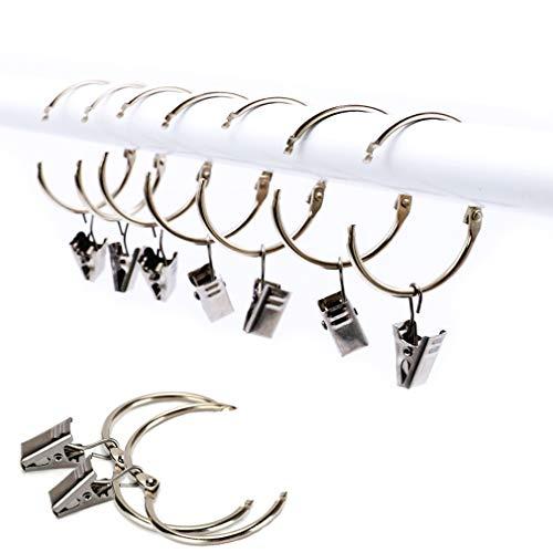 DIWUJI 25 Stück Vorhangring mit Clips Haken, Rostfreier Stahl Fenster Gardinen Hängender Ring, Rostfreies Metall, Leicht zu öffnen und Schließen, 38 mm Innendurchmesser (Silber)