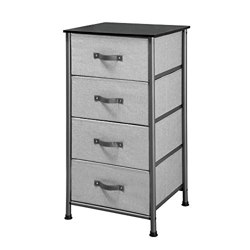 iDesign Basic Mueble cajonera con 4 cajones, cómoda Estrecha para Sala de Estar o Dormitorio en Metal y Tela, mesilla de Noche, Gris Grafito, 48,0 cm x 42,6 cm x 95,0 cm