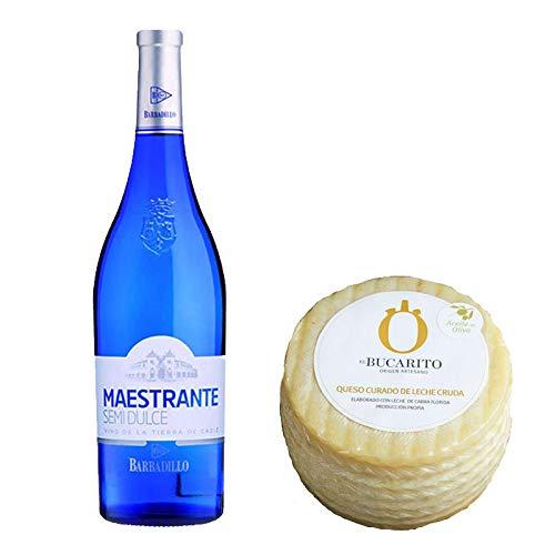 Pack de Vino blanco Maestrante y Queso Curado en Aceite Oliva de Leche Cruda - Vino de 75 cl y Queso de 900 g aprox - Mezclanza