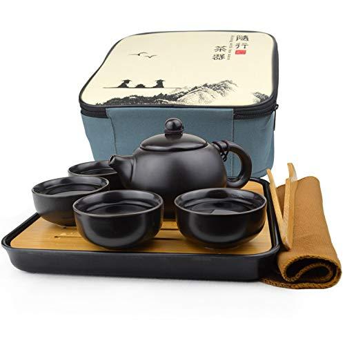 Yxhupot Reise-Teeservice Kungfu Teekanne Tassen Tablett mit Geschenkzubehör schwarz tragbare Verpackung (schwarz)