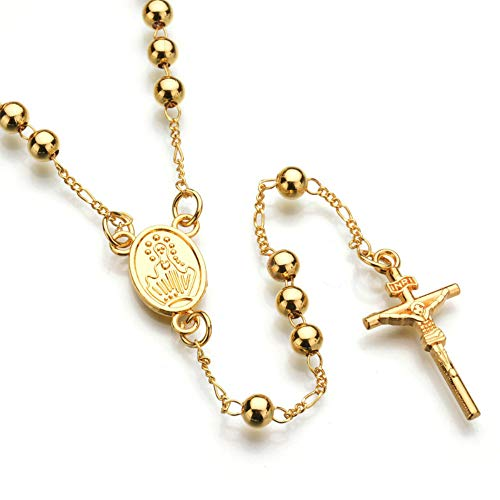USUASI - Collar con colgante de cruz de plata y oro para hombre
