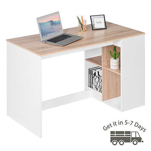 Bureau d'ordinateur de Bureau, Bureau 120x60cm, Bureau d'étude avec 4 étagères de Rangement, Table de Travail en Bois pour Table d'ordinateur Portable PC, hêtre et Blanc