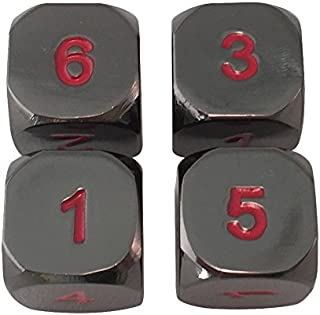 SkullSplitter Dice Set of 4 for MTG Counters and RPGs Solid Metal Polyhedral Dice 6 Sided (D6) RPG Dice