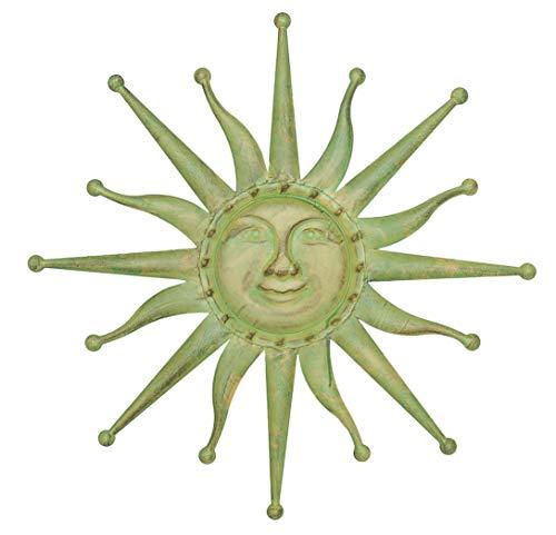 aubaho Wanddekoration Sonne 60cm Eisen Garten Terrasse grün antik Stil Metal Garden Sun