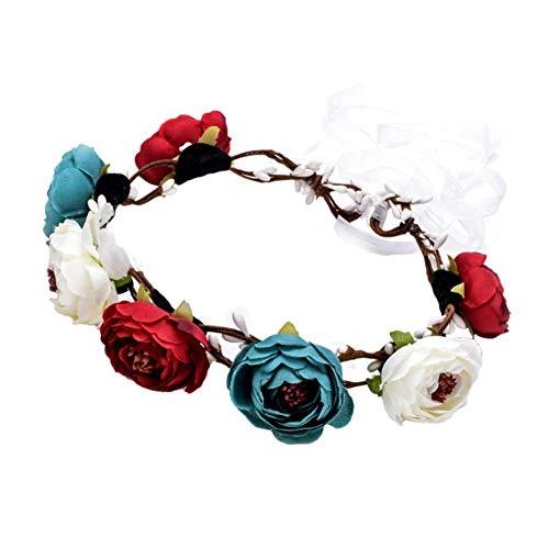 Daaimi - Guirnalda de rosas artificiales para el cabello, 1 unidad
