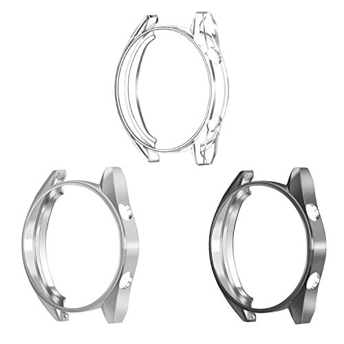 Fintie Protector de Carcasa [3 Piezas] Compatible con Huawei Watch GT 46mm Sport/Classic/Active - Funda de TPU Blanda Cubierta Protectora A Prueba de Choques, Negro/Transparente/Gris