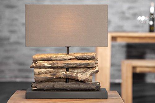 Bellasdirect Lampe de table 40 cm en bois flotté Lin Naturel Marron moderne Lampe de table