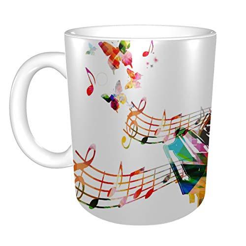 Männer Keramikbecher Bunte Liebe Musik Instrument Kaffeetassen Große Kaffeetassen Becher Keramik 11 Unzen Für Männer Frauen Ideale Geschenke Für Frühstücksmilch