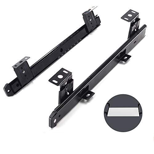 YCMY Keyboard Slide 14 Inch Heavy Duty Ball Bearing Slides, Extension Rails for Computer Drawer Tray Accessories, Cabinet Furniture Hardware Rails, Adjustable Height Bracket, Black
