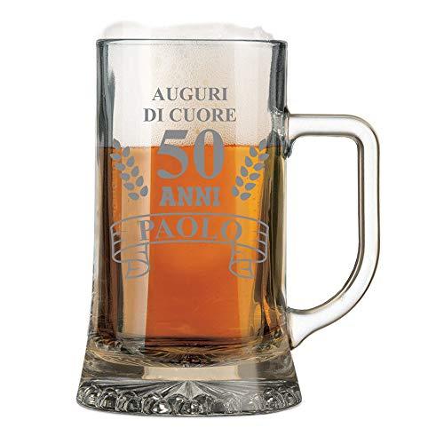 Boccale da Birra Personalizzato con Nome Incisione Compleanno 50 Anni Auguri di Cuore (Nome del festeggiato) - Idea Regalo Compleanno - Regali Originali - Bicchiere in Vetro Chiaro, ca 50cl
