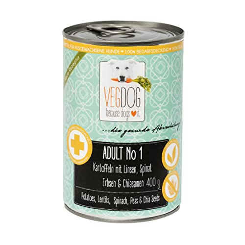 VEGDOG Adult Hunde Nassfutter, veganes Alleinfuttermittel hypoallergenes, getreidefreies Hundefutter feucht, 400gr 800gr, Sensibelchen & Senior, für Allergiker (400g (6er Pack))