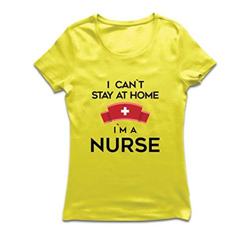 lepni.me Camiseta Mujer No Puedo quedarme En casa Soy una Enfermera Frontliners Regalo de reconocimiento de Tributo (Small Amarillo Multicolor)