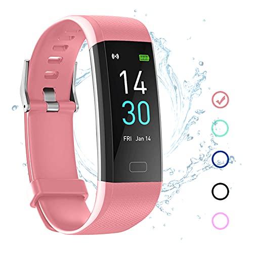 Fitness Tracker Armband Wasserdicht IP68 Rosa mit Pulsmesser Schlafmonitor Fitness Tracker Schrittzähler Aktivitätstracker Uhr für Damen Herren Kinder Smartband für IOS Android