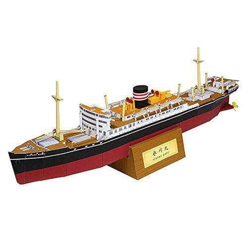 MxZas Puzzle de papel militar modelo juguete, 1/400 escala japonesa de hierro fundido, Maru Posta Barco Juguetes y Regalos 15.7 Inchx2 inch Jzx-n