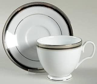 Noritake Austin Platinum Footed Cup & Saucer Set, Fine China Dinnerware