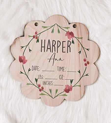 Hospital Door Hanger Floral Nursery Name Sign Birth Stats Sign Girl Hospital Door Wreath Announcement Sign New Baby Keepsake