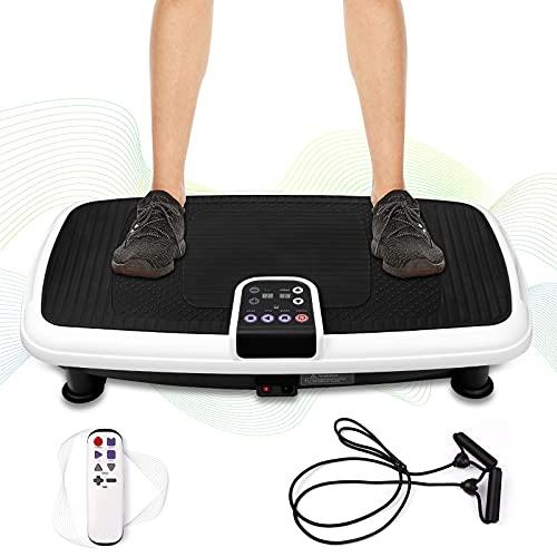 Fitness Vibrationsplatte Vibrationsboard für Fett verlieren und Fitnesstraining von Zuhause, Body Shaper mit 5 Trainingsprogramme Vibrationsgerät mit Fitnessbänder & Fernbedienung 120 KG Belastbar