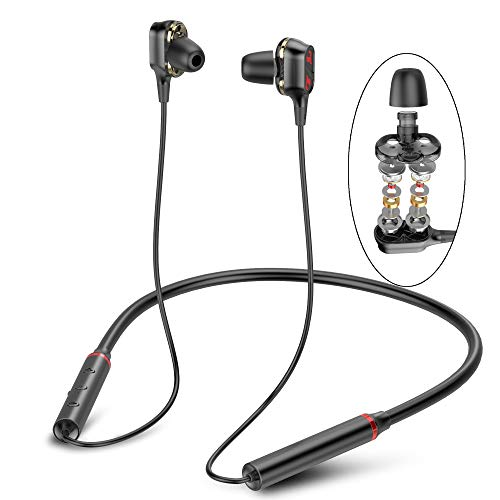 LetsBeat BEATMASTER Pro V1 Bluetooth Headphones V5.0, Dual Dynamic Drivers,Bass & Treble HiFi Stereo, aptX HD CVC 8.0 Noise Cancelling, IPX7 Waterproof 14H Playtime Earbuds for Gym Running Workout