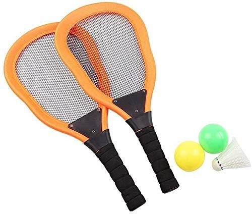 RENFEIYUAN 1 Set NIÑOS PLÁSTICO Badminton Tenis Conjunto con Raquetas Bolas Shuttlecock Tenis Racquet Play Game Juguetes de Playa para niños niños pequeños (Rojo) Badminton Raqueta (Color : Orange)
