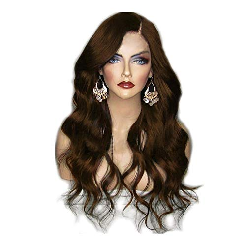26 inch lange golvende Natural Pruiken, Hoge Temperatuur Fiber zwart, bruin, paars, wijn rode pruik for vrouwen (Color : Brown)