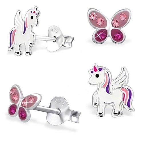 GH* KIDS, 2 paia di mini orecchini di cristallo a farfalla + Pegasus unicorno 925 in vero argento, orecchini per ragazza e bambine